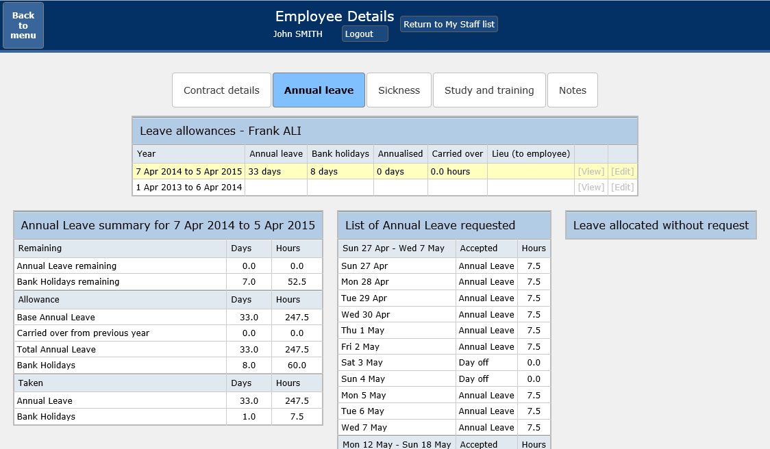 My staff - employee leave details