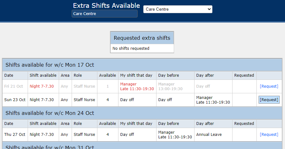 Extra Shifts Available