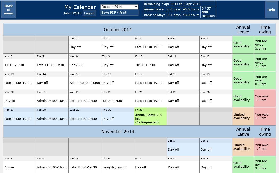Personal Calendar - one stop shop for the employee