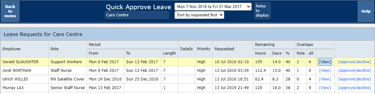 Annual Leave - Quick approve leave